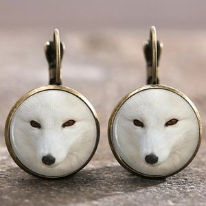 Wolf Bronze Glass Cabochon Lever Back Earrings